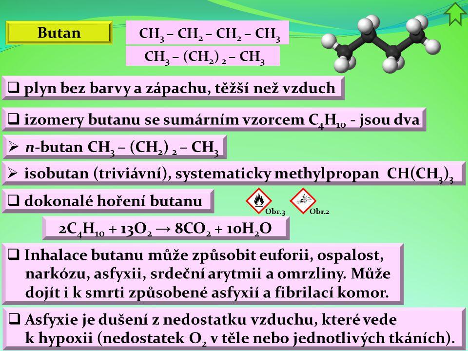 Butan  plyn bez barvy a zápachu, těžší než vzduch  izomery butanu se sumárním vzorcem C 4 H 10 - jsou dva  dokonalé hoření butanu Obr.2 Obr.3  Inhalace butanu může způsobit euforii, ospalost, narkózu, asfyxii, srdeční arytmii a omrzliny.