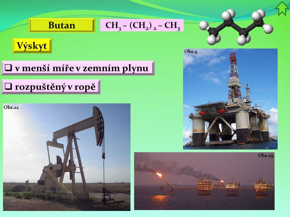 Butan Výskyt  v menší míře v zemním plynu  rozpuštěný v ropě Obr.9 Obr.22 CH 3 – (CH 2 ) 2 – CH 3 Obr.29