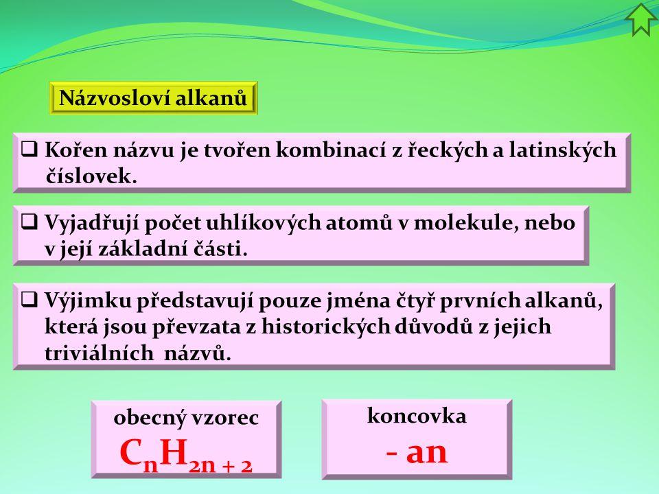 Názvosloví alkanů  Vyjadřují počet uhlíkových atomů v molekule, nebo v její základní části.