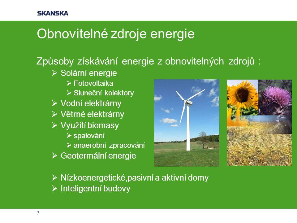 3 Obnovitelné zdroje energie Způsoby získávání energie z obnovitelných zdrojů :  Solární energie  Fotovoltaika  Sluneční kolektory  Vodní elektrárny  Větrné elektrárny  Využití biomasy  spalování  anaerobní zpracování  Geotermální energie  Nízkoenergetické,pasivní a aktivní domy  Inteligentní budovy