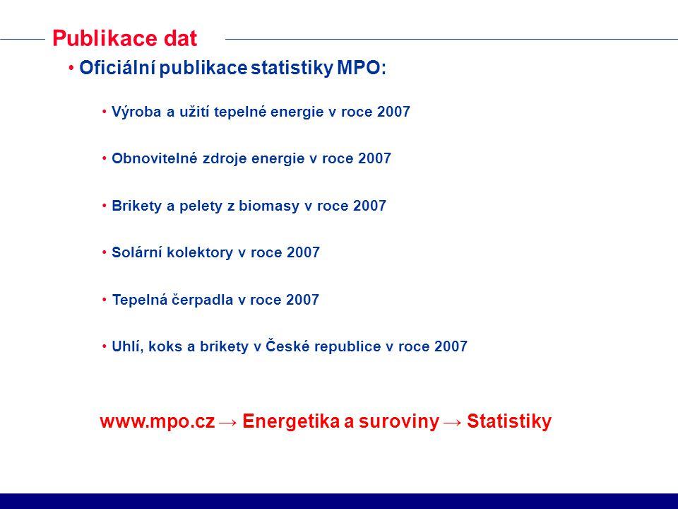 Publikace dat Oficiální publikace statistiky MPO: Výroba a užití tepelné energie v roce 2007 Obnovitelné zdroje energie v roce 2007 Brikety a pelety z
