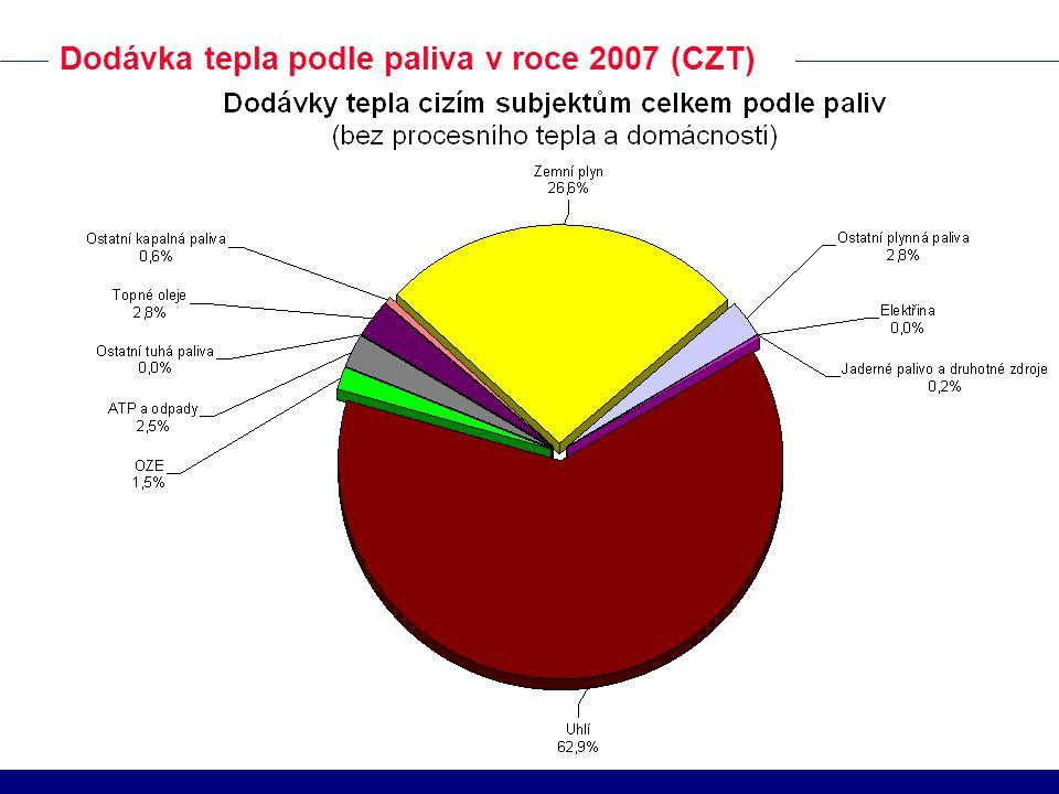 Dodávka tepla podle paliva v roce 2007 (CZT)