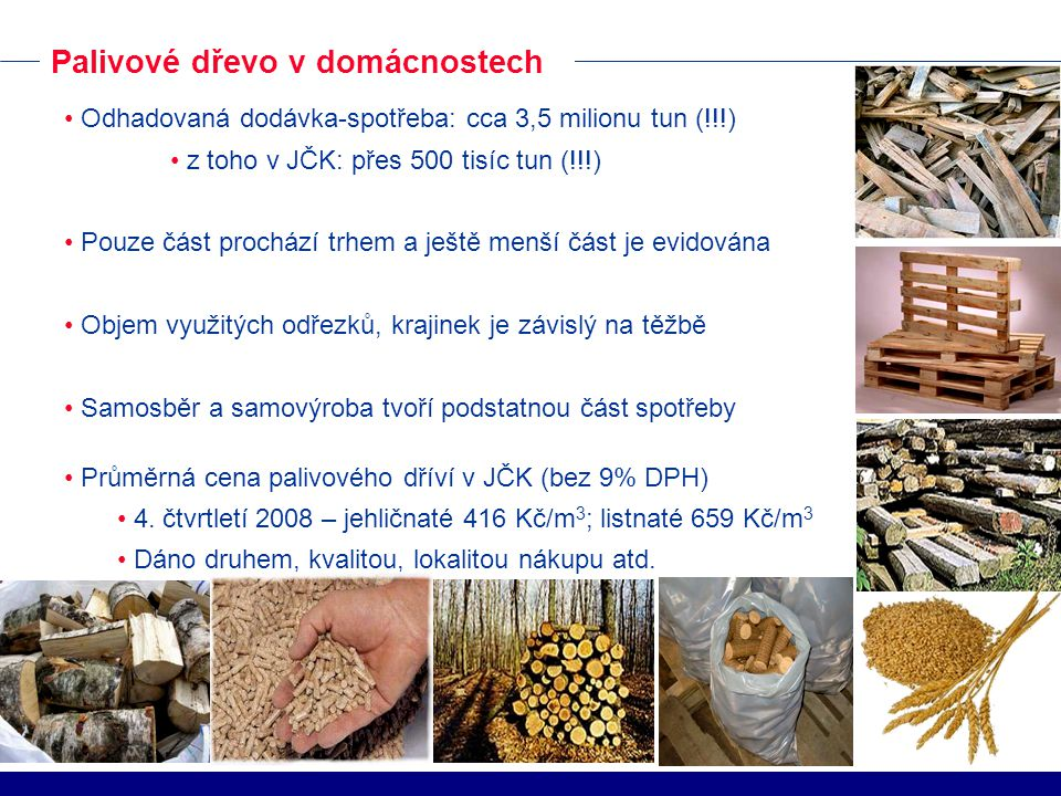 Odhadovaná dodávka-spotřeba: cca 3,5 milionu tun (!!!) z toho v JČK: přes 500 tisíc tun (!!!) Pouze část prochází trhem a ještě menší část je evidována Objem využitých odřezků, krajinek je závislý na těžbě Samosběr a samovýroba tvoří podstatnou část spotřeby Průměrná cena palivového dříví v JČK (bez 9% DPH) 4.