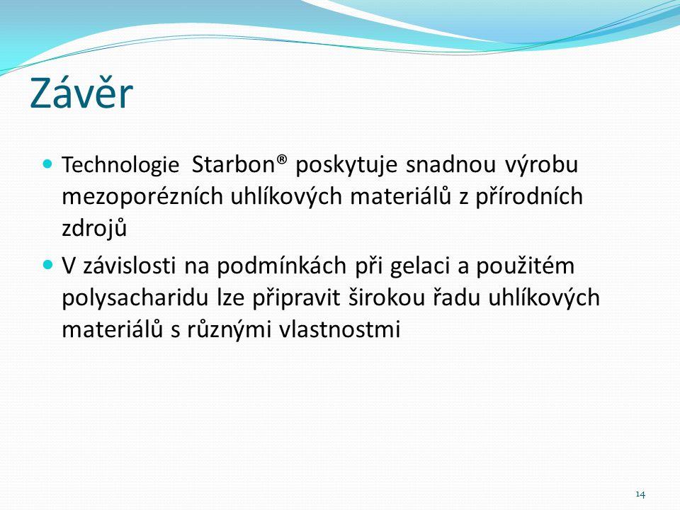 Závěr Technologie Starbon® poskytuje snadnou výrobu mezoporézních uhlíkových materiálů z přírodních zdrojů V závislosti na podmínkách při gelaci a použitém polysacharidu lze připravit širokou řadu uhlíkových materiálů s různými vlastnostmi 14