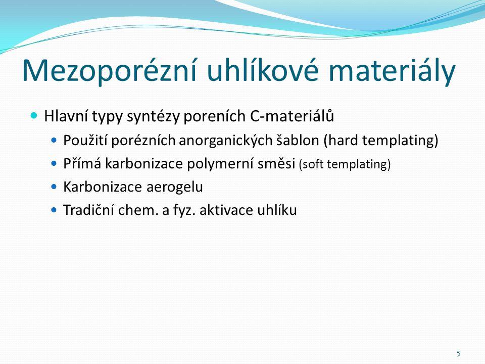 Mezoporézní uhlíkové materiály Hlavní typy syntézy poreních C-materiálů Použití porézních anorganických šablon (hard templating) Přímá karbonizace polymerní směsi (soft templating) Karbonizace aerogelu Tradiční chem.