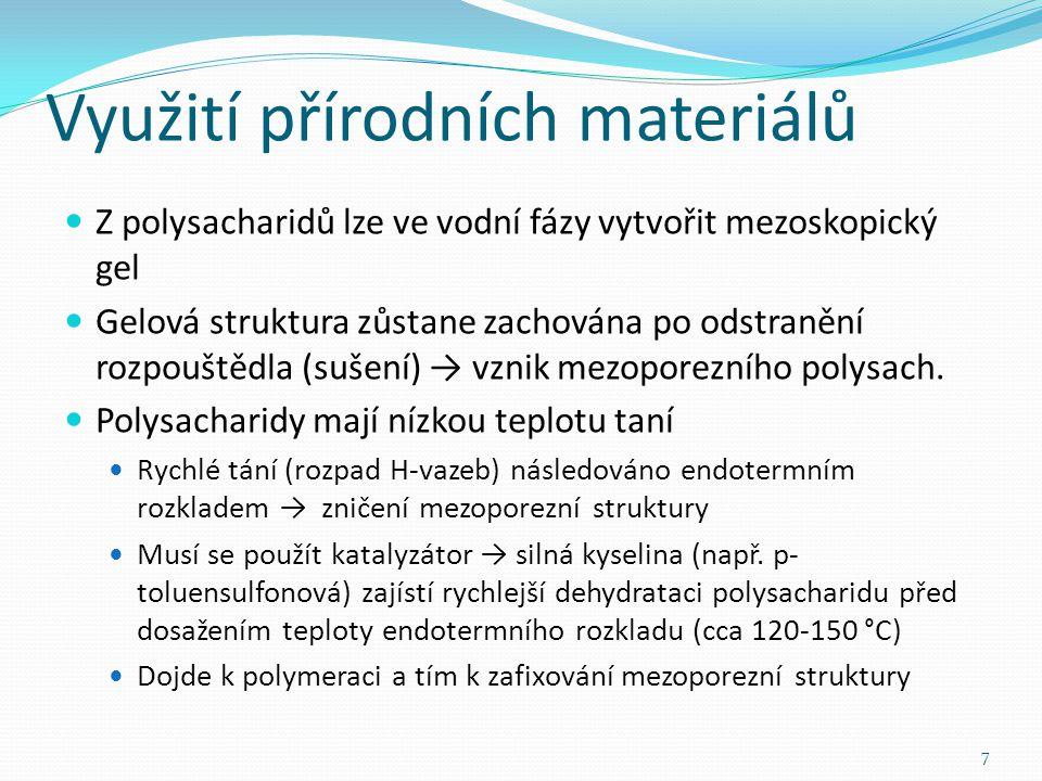 Využití přírodních materiálů V počátku výzkumu byl jako prekurzor použit škrob Složen z amylózy (20%) a amilopektinu (80%) Tento škrob vytvoří semikrystalický polysacharidový kompozit s mezoporézní velikostí pórů (4-5nm) 8 Negativní lineární závislost mezopórozity na obsahu amilopektinu ve směsi → klíčový komponent pro vysoce mezoporézní škrob je minimální obsah amylózy [1]