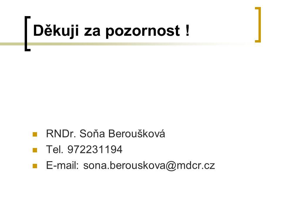 Děkuji za pozornost ! RNDr. Soňa Beroušková Tel. 972231194 E-mail: sona.berouskova@mdcr.cz