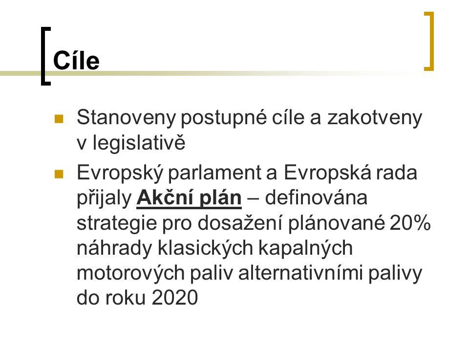 Cíle Stanoveny postupné cíle a zakotveny v legislativě Evropský parlament a Evropská rada přijaly Akční plán – definována strategie pro dosažení plánované 20% náhrady klasických kapalných motorových paliv alternativními palivy do roku 2020