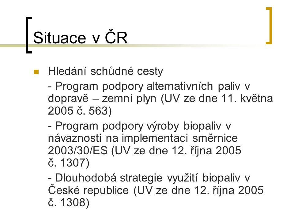 Situace v ČR Hledání schůdné cesty - Program podpory alternativních paliv v dopravě – zemní plyn (UV ze dne 11.