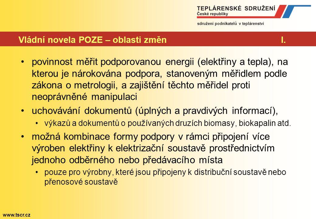 sdružení podnikatelů v teplárenství www.tscr.cz Vládní novela POZE – oblasti změnI.