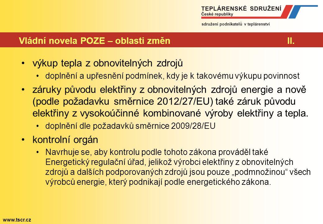 sdružení podnikatelů v teplárenství www.tscr.cz Vládní novela POZE – oblasti změnII.