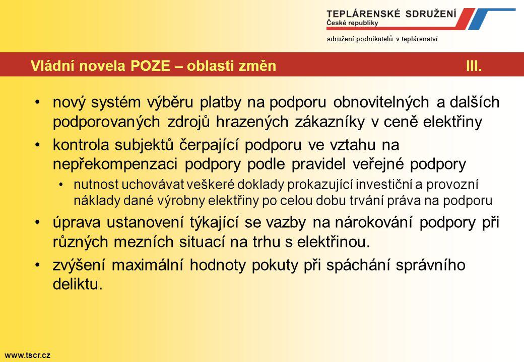 sdružení podnikatelů v teplárenství www.tscr.cz Vládní novela POZE – oblasti změnIII.