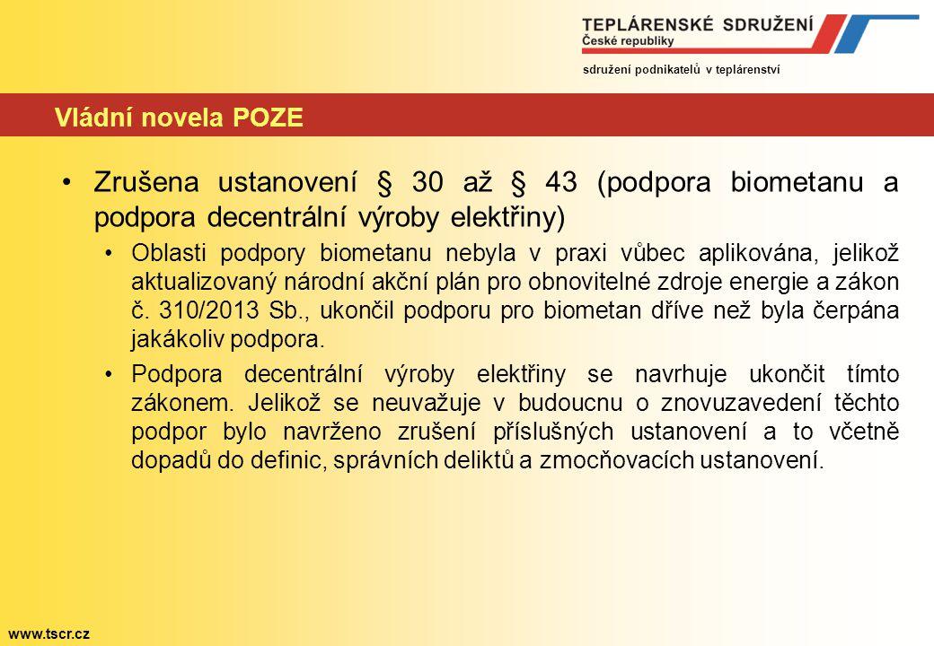 sdružení podnikatelů v teplárenství www.tscr.cz Vládní novela POZE Zrušena ustanovení § 30 až § 43 (podpora biometanu a podpora decentrální výroby elektřiny) Oblasti podpory biometanu nebyla v praxi vůbec aplikována, jelikož aktualizovaný národní akční plán pro obnovitelné zdroje energie a zákon č.