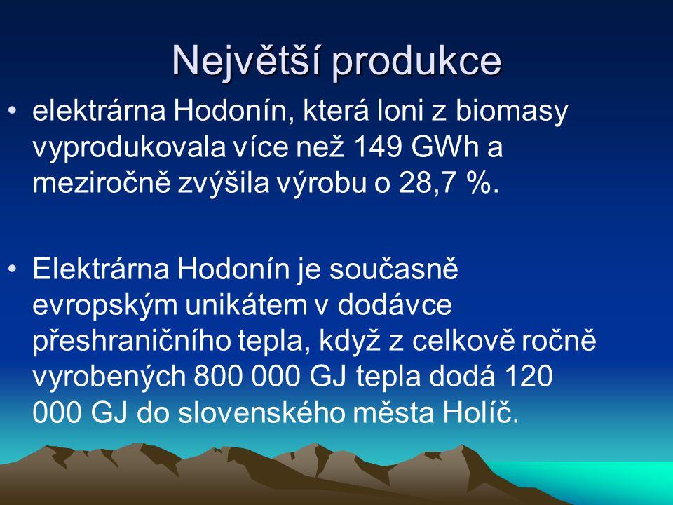 Největší produkce elektrárna Hodonín, která loni z biomasy vyprodukovala více než 149 GWh a meziročně zvýšila výrobu o 28,7 %.