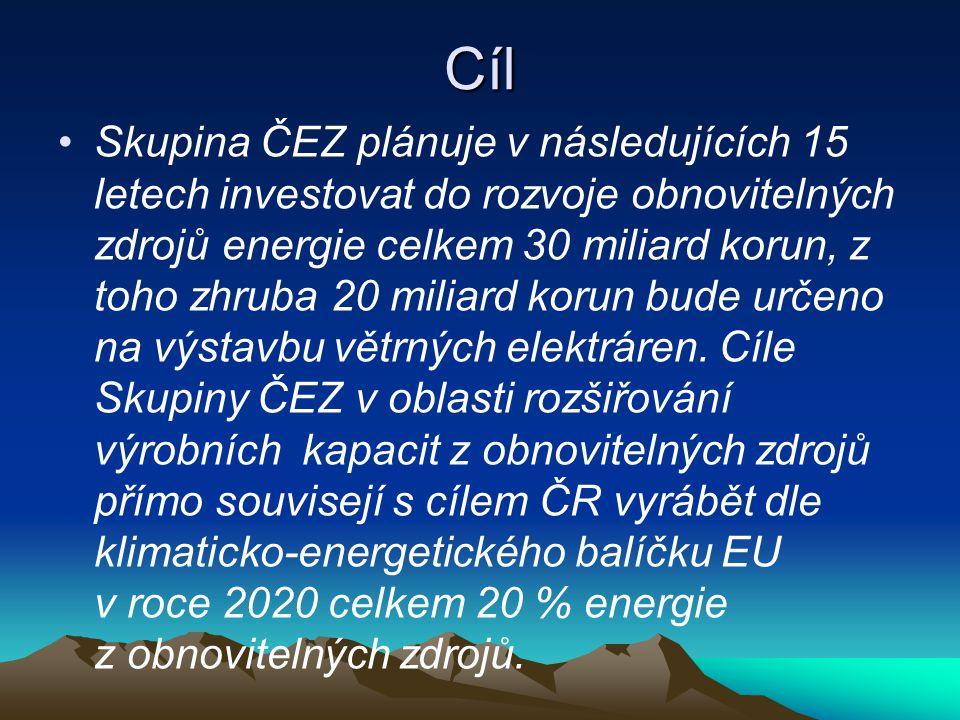 Cíl Skupina ČEZ plánuje v následujících 15 letech investovat do rozvoje obnovitelných zdrojů energie celkem 30 miliard korun, z toho zhruba 20 miliard korun bude určeno na výstavbu větrných elektráren.