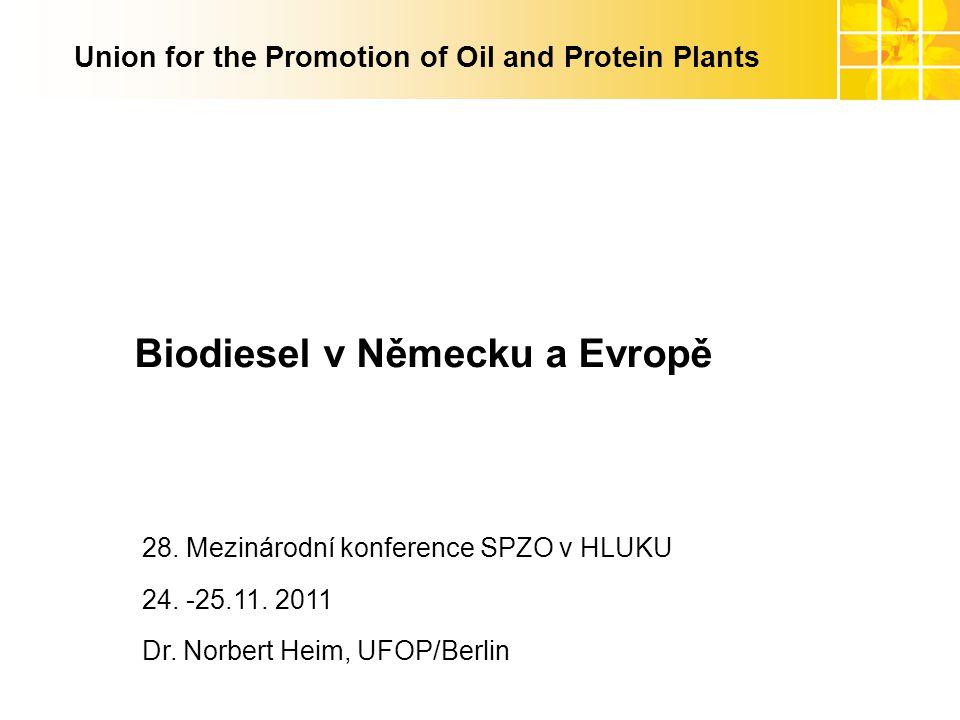 www.ufop.de Union for the Promotion of Oil and Protein Plants Biodiesel v Německu a Evropě 28. Mezinárodní konference SPZO v HLUKU 24. -25.11. 2011 Dr