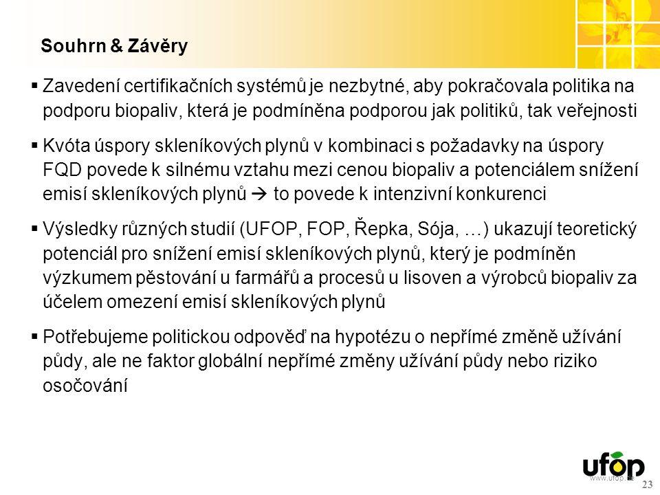 www.ufop.de Souhrn & Závěry  Zavedení certifikačních systémů je nezbytné, aby pokračovala politika na podporu biopaliv, která je podmíněna podporou j