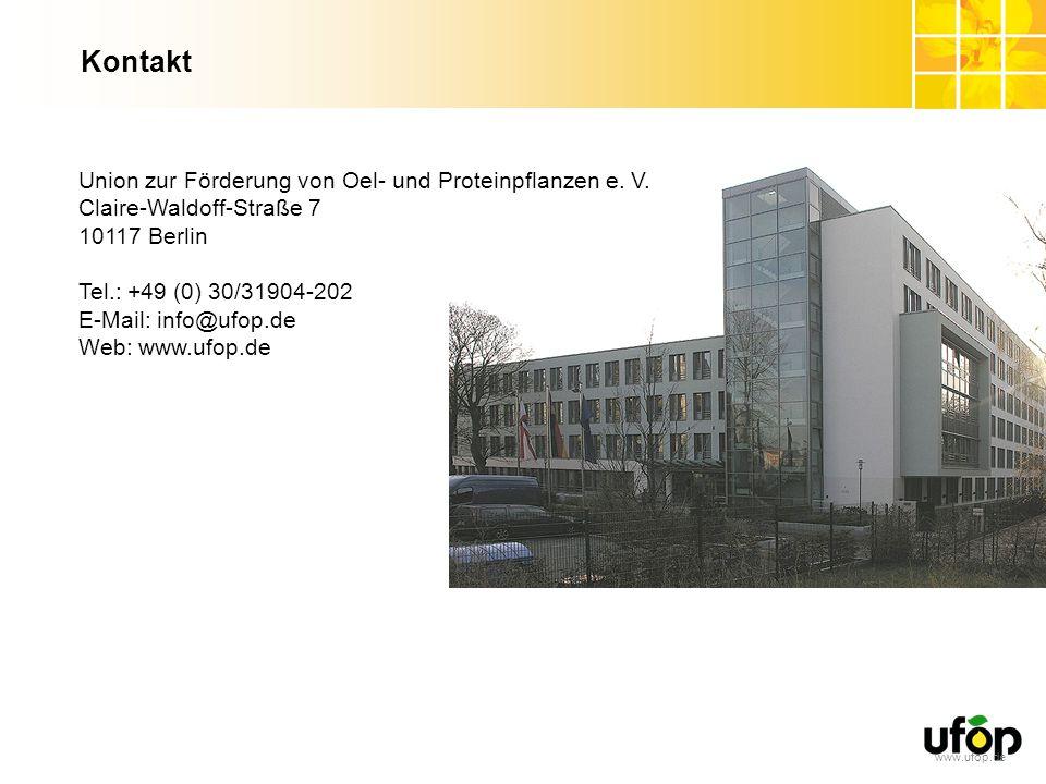 www.ufop.de Kontakt Union zur Förderung von Oel- und Proteinpflanzen e. V. Claire-Waldoff-Straße 7 10117 Berlin Tel.: +49 (0) 30/31904-202 E-Mail: inf