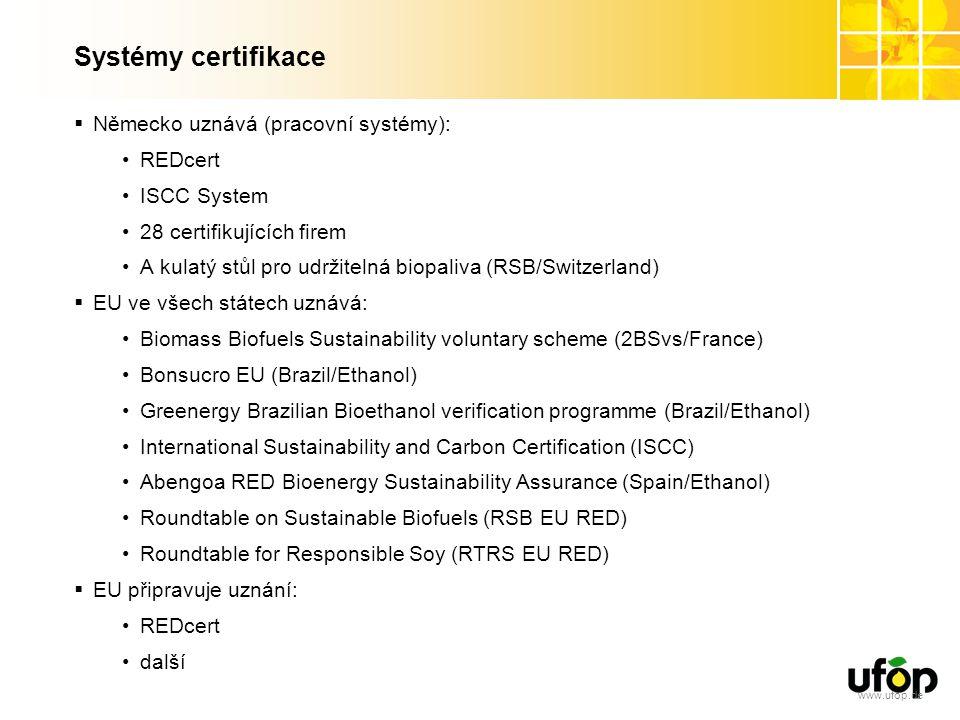 www.ufop.de Systémy certifikace  Německo uznává (pracovní systémy): REDcert ISCC System 28 certifikujících firem A kulatý stůl pro udržitelná biopaliva (RSB/Switzerland)  EU ve všech státech uznává: Biomass Biofuels Sustainability voluntary scheme (2BSvs/France) Bonsucro EU (Brazil/Ethanol) Greenergy Brazilian Bioethanol verification programme (Brazil/Ethanol) International Sustainability and Carbon Certification (ISCC) Abengoa RED Bioenergy Sustainability Assurance (Spain/Ethanol) Roundtable on Sustainable Biofuels (RSB EU RED) Roundtable for Responsible Soy (RTRS EU RED)  EU připravuje uznání: REDcert další