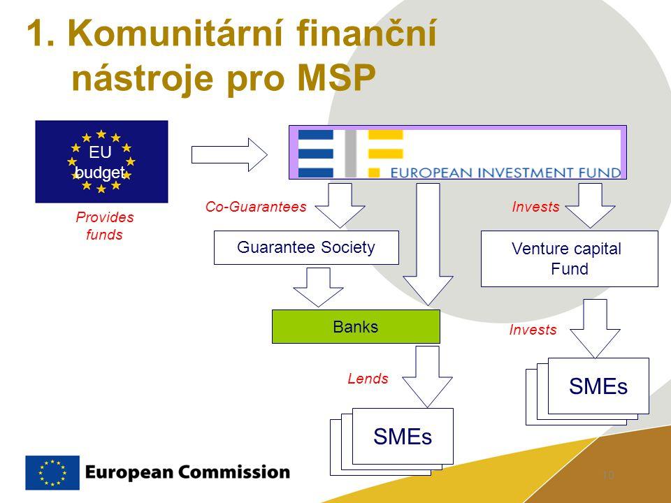 10 1. Komunitární finanční nástroje pro MSP Banks Venture capital Fund EU budget SMEs Invests Lends Provides funds Guarantee Society Co-Guarantees