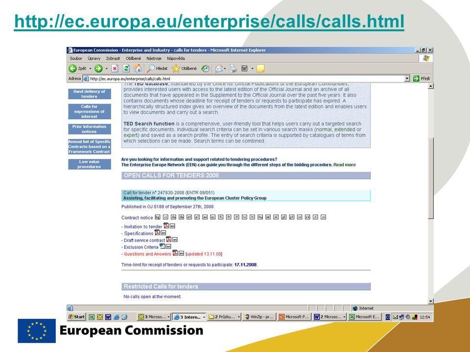 http://ec.europa.eu/enterprise/calls/calls.html