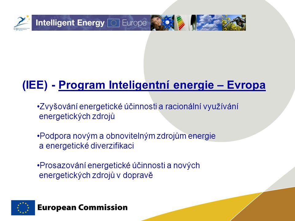 (IEE) - Program Inteligentní energie – Evropa Zvyšování energetické účinnosti a racionální využívání energetických zdrojů Podpora novým a obnovitelným