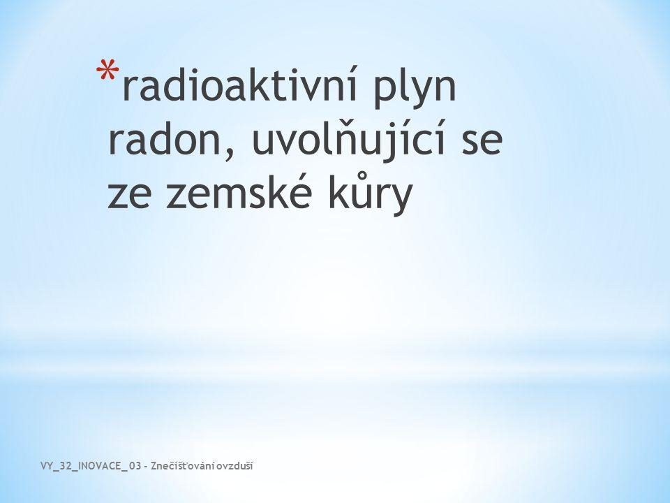 VY_32_INOVACE_ 03 - Znečišťování ovzduší * radioaktivní plyn radon, uvolňující se ze zemské kůry