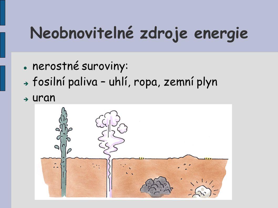 Neobnovitelné zdroje energie nerostné suroviny:  fosilní paliva – uhlí, ropa, zemní plyn  uran