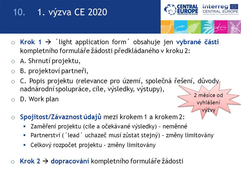 o Krok 1  ´light application form´ obsahuje jen vybrané části kompletního formuláře žádosti předkládaného v kroku 2: o A.
