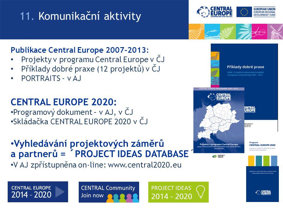 CENTRAL EUROPE 2020: Programový dokument – v AJ, v ČJ Skládačka CENTRAL EUROPE 2020 v ČJ Vyhledávání projektových záměrů a partnerů = ´PROJECT IDEAS DATABASE´ V AJ zpřístupněna on-line: www.central2020.eu 11.