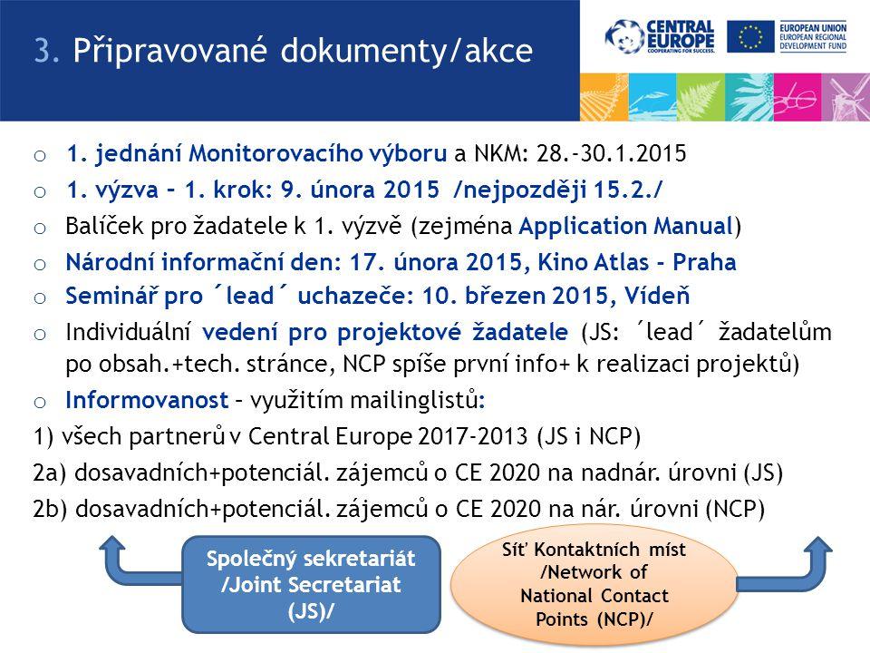 o 1.jednání Monitorovacího výboru a NKM: 28.-30.1.2015 o 1.