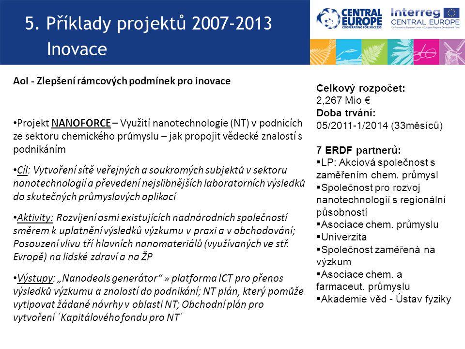 5. Příklady projektů 2007-2013 Inovace AoI - Zlepšení rámcových podmínek pro inovace Projekt NANOFORCE – Využití nanotechnologie (NT) v podnicích ze s