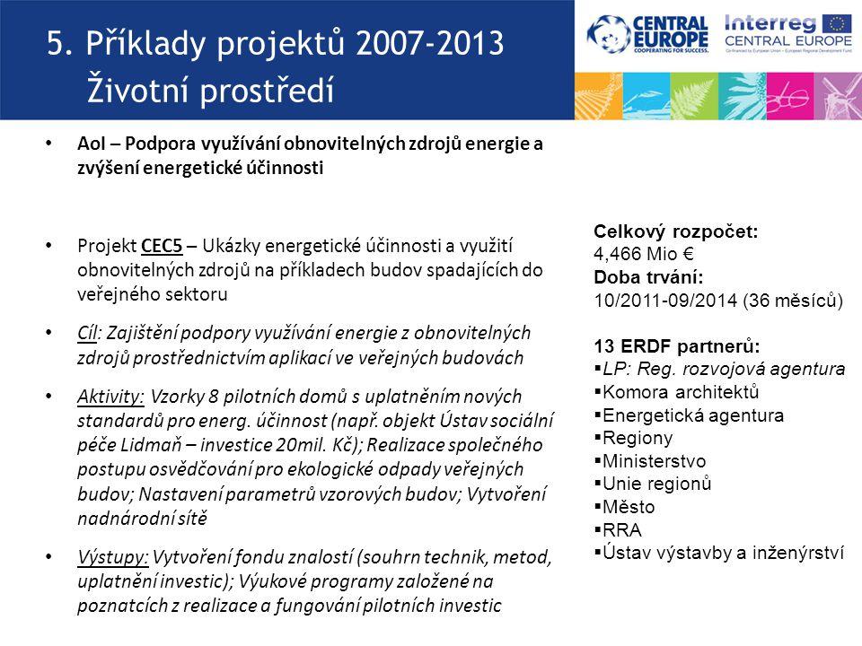 5. Příklady projektů 2007-2013 Životní prostředí AoI – Podpora využívání obnovitelných zdrojů energie a zvýšení energetické účinnosti Projekt CEC5 – U