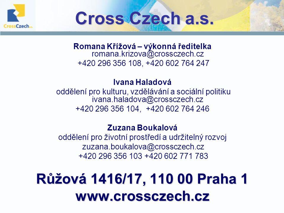 Cross Czech a.s. Romana Křížová – výkonná ředitelka romana.krizova@crossczech.cz +420 296 356 108, +420 602 764 247 Ivana Haladová oddělení pro kultur