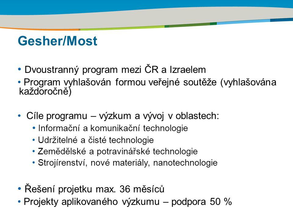 Gesher/Most Dvoustranný program mezi ČR a Izraelem Program vyhlašován formou veřejné soutěže (vyhlašována každoročně) Cíle programu – výzkum a vývoj v