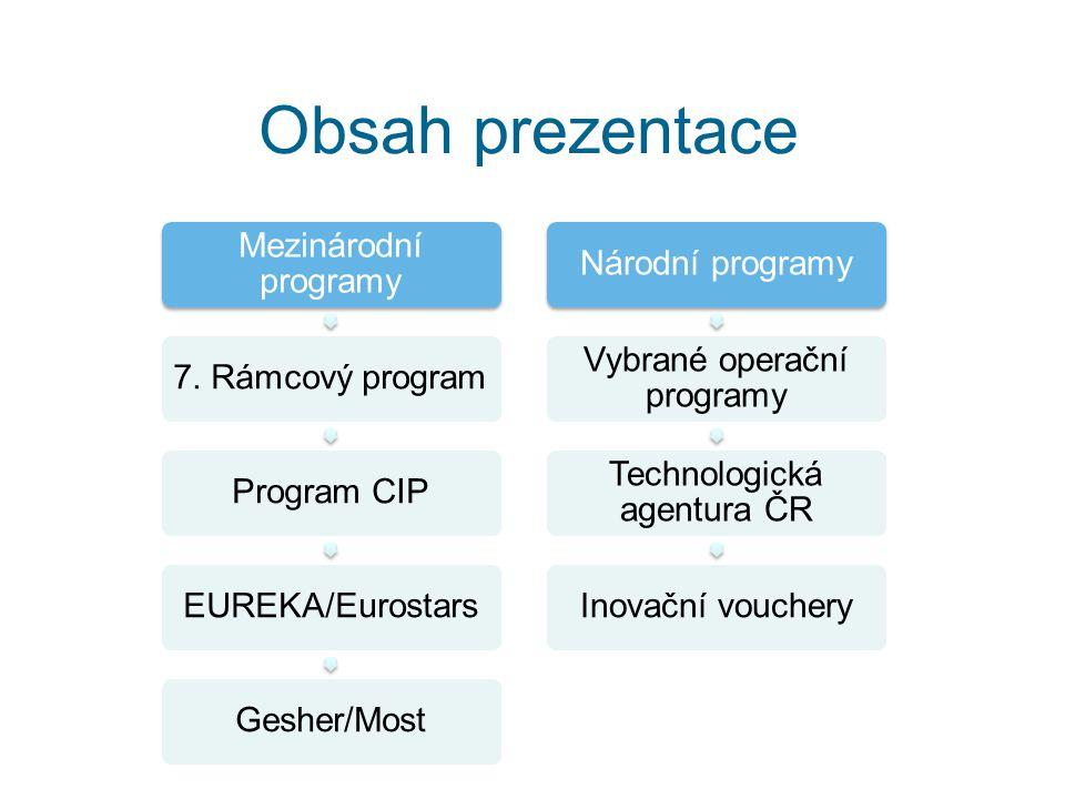 7.rámcový program Období 2007-2013 Alokace 50,5 mld.