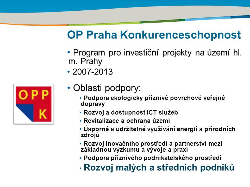 OP Praha Konkurenceschopnost Program pro investiční projekty na území hl. m. Prahy 2007-2013 Oblasti podpory: Podpora ekologicky příznivé povrchové ve