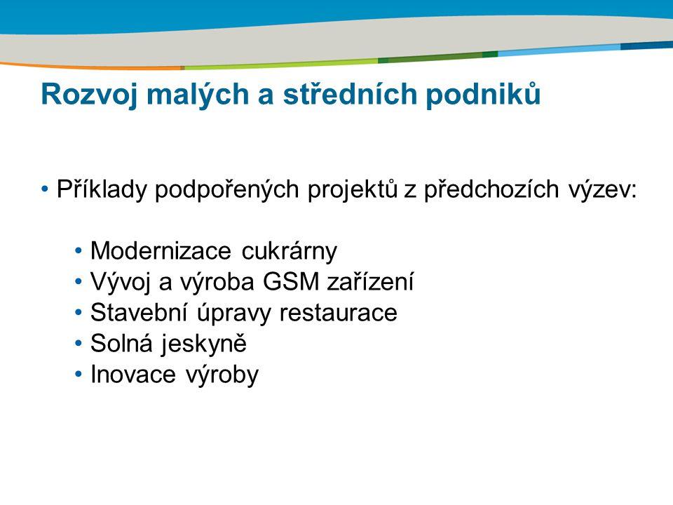 Rozvoj malých a středních podniků Příklady podpořených projektů z předchozích výzev: Modernizace cukrárny Vývoj a výroba GSM zařízení Stavební úpravy