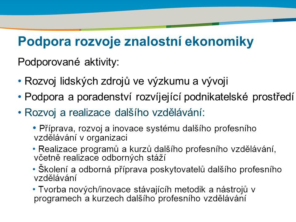 Podpora rozvoje znalostní ekonomiky Podporované aktivity: Rozvoj lidských zdrojů ve výzkumu a vývoji Podpora a poradenství rozvíjející podnikatelské p