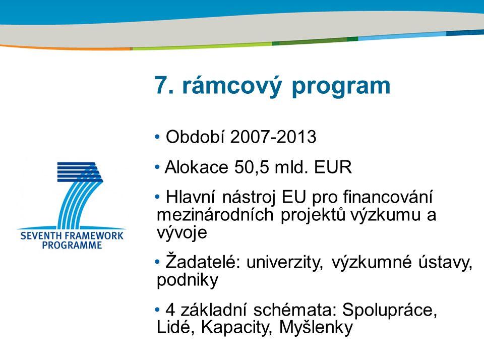 7. rámcový program Období 2007-2013 Alokace 50,5 mld. EUR Hlavní nástroj EU pro financování mezinárodních projektů výzkumu a vývoje Žadatelé: univerzi