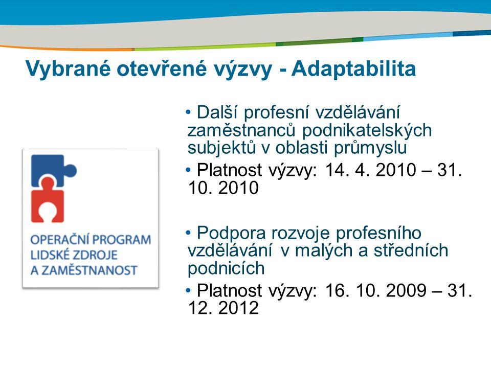 Další profesní vzdělávání zaměstnanců podnikatelských subjektů v oblasti průmyslu Platnost výzvy: 14. 4. 2010 – 31. 10. 2010 Podpora rozvoje profesníh