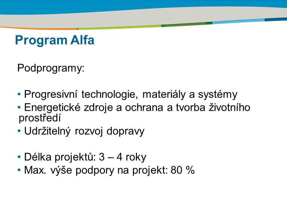 Podprogramy: Progresivní technologie, materiály a systémy Energetické zdroje a ochrana a tvorba životního prostředí Udržitelný rozvoj dopravy Délka pr