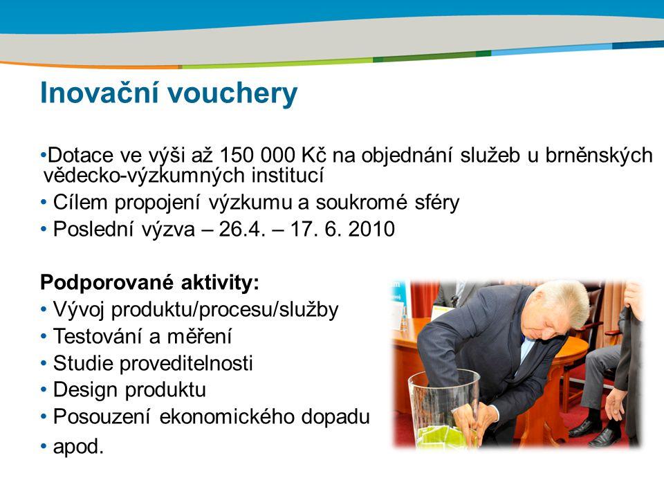 Inovační vouchery Dotace ve výši až 150 000 Kč na objednání služeb u brněnských vědecko-výzkumných institucí Cílem propojení výzkumu a soukromé sféry
