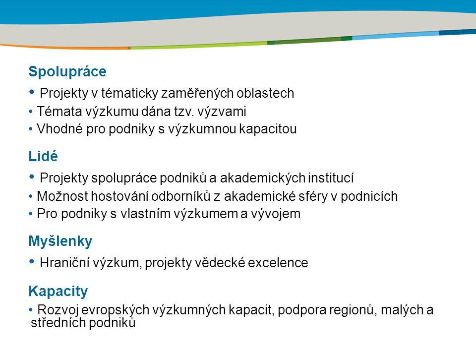 Kapacity – Výzkum ve prospěch MSP Na tuto oblast určeno 4,1 mld.