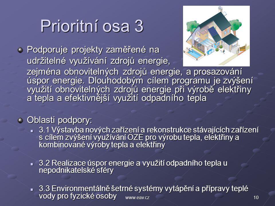 10www.eav.cz Prioritní osa 3 Prioritní osa 3 Podporuje projekty zaměřené na udržitelné využívání zdrojů energie, zejména obnovitelných zdrojů energie, a prosazování úspor energie.