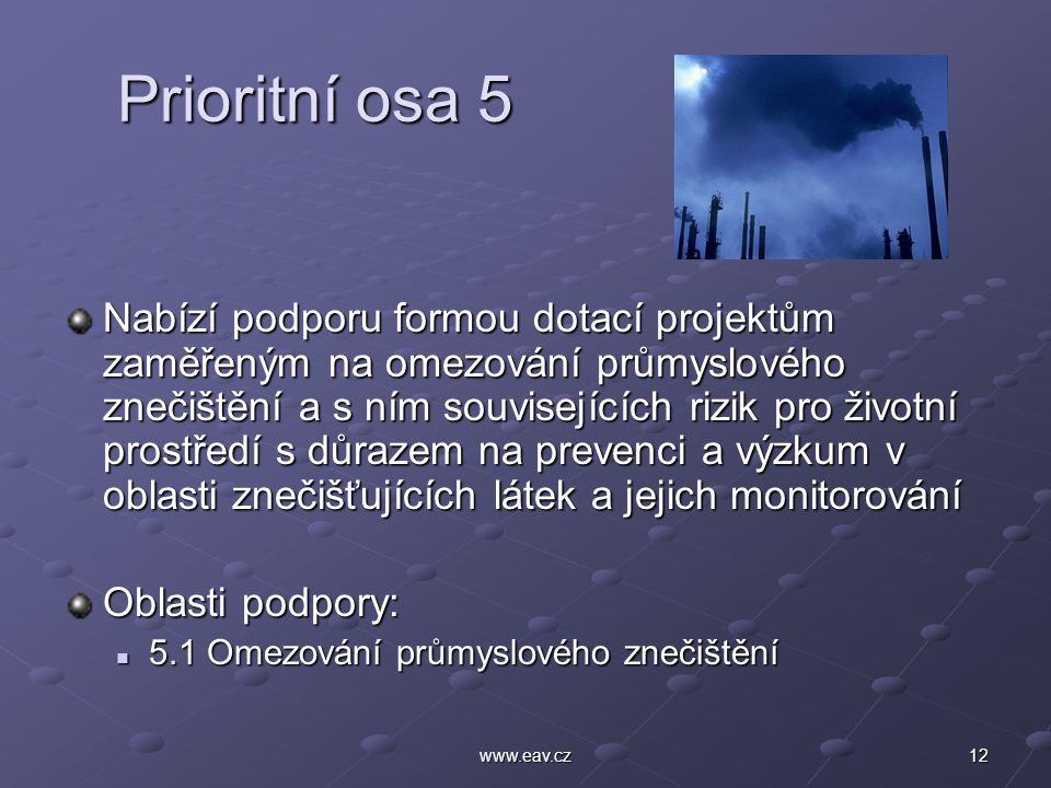 12www.eav.cz Prioritní osa 5 Prioritní osa 5 Nabízí podporu formou dotací projektům zaměřeným na omezování průmyslového znečištění a s ním související