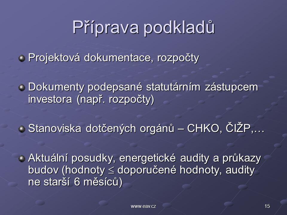 15www.eav.cz Příprava podkladů Projektová dokumentace, rozpočty Dokumenty podepsané statutárním zástupcem investora (např. rozpočty) Stanoviska dotčen