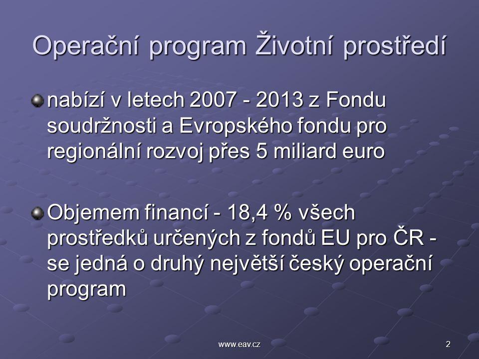 3www.eav.cz OP ŽP - finance Základním znakem prostředků poskytovaných z evropských fondů je nutnost veřejného spolufinancování Žadatelé mohou z fondů EU získat dotaci až do výše 85 % celkové částky Další část finančních prostředků může pokrýt SFŽP (4 %) a státní rozpočet (1 %) Princip adicionality – finanční účast příjemce podpory ve výši min.