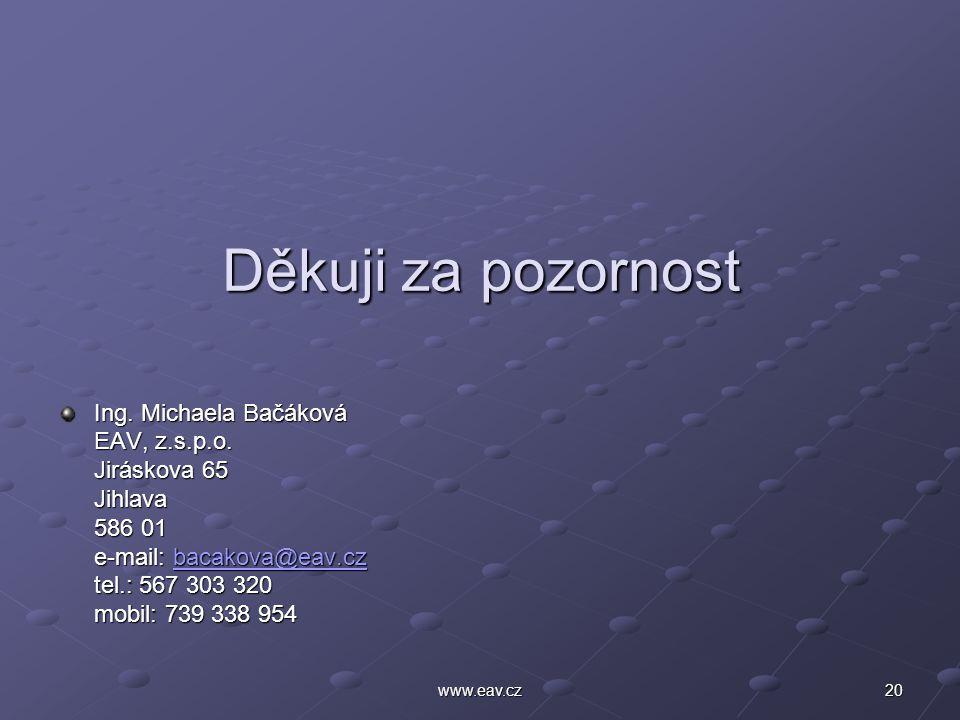 20www.eav.cz Děkuji za pozornost Ing. Michaela Bačáková EAV, z.s.p.o. Jiráskova 65 Jihlava 586 01 e-mail: bacakova@eav.cz bacakova@eav.cz tel.: 567 30