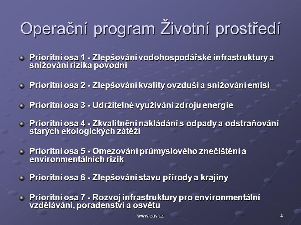4www.eav.cz Operační program Životní prostředí Prioritní osa 1 - Zlepšování vodohospodářské infrastruktury a snižování rizika povodní Prioritní osa 2